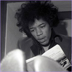 Jimi Hendrix reading 'Penguin Science Fiction'